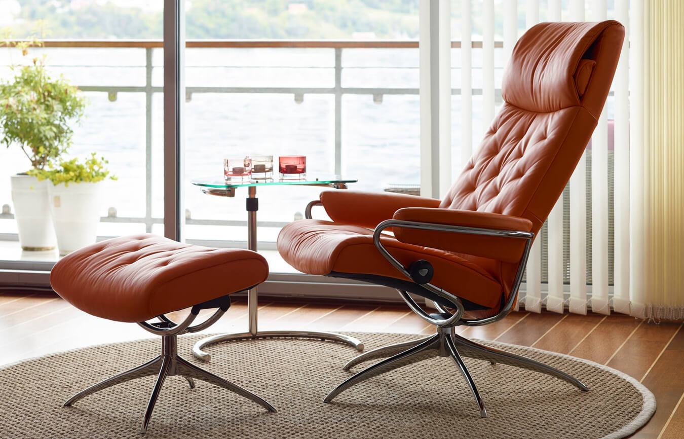 ekornes stressless recliner chair ottoman beige leather teak