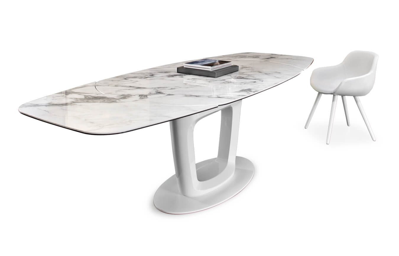 Calligaris Orbital Extendable Dining Table In Transparent